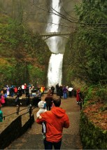 Chris Taylor and TinyMan at Multnomah Falls Columbia Gorge Oregon 2traveldads.com