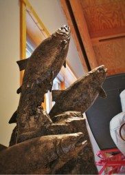 Jumping Salmon sculpture at Sleeping Lady Resort Leavenworth 2traveldads.com
