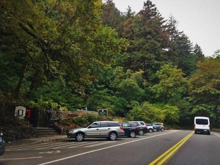 Parking on Highway 30 at Wahkeena Falls Columbia Gorge Oregon