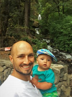 Rob Taylor and TinyMan at Wahkeena Falls Waterfall Area Columbia Gorge Oregon 2traveldads.com