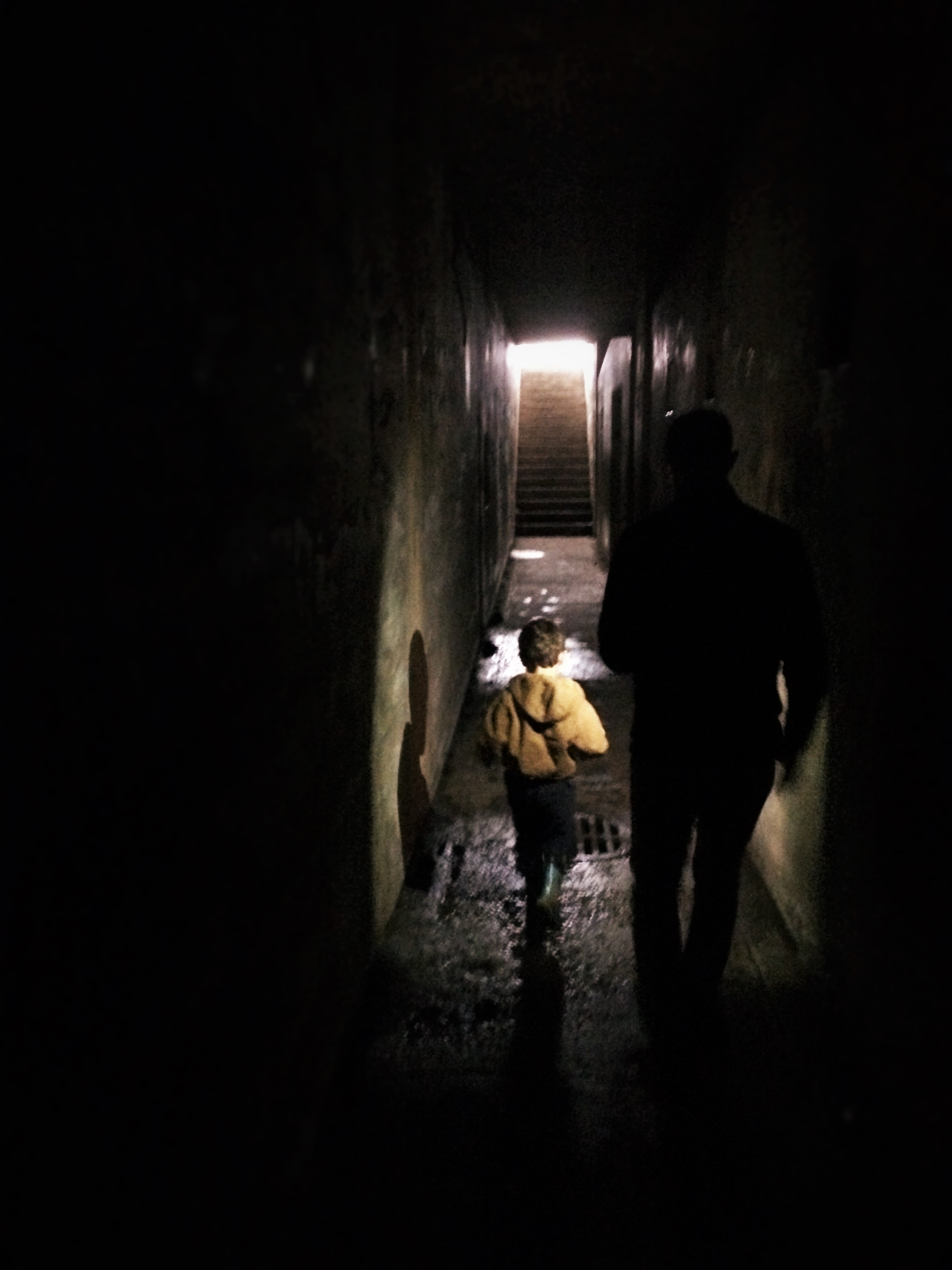Chris Taylor and LittleMan in bunkers at Fort Worden Port Townsend 1