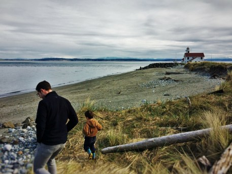 Chris Taylor and LittleMan on beach at Fort Worden Port Townsend