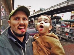 Rob Taylor and LittleMan at Pike Place Market Seattle