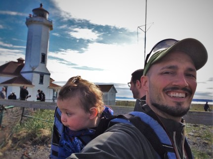 Rob Taylor and TinyMan at Point Wilson Lighthouse Fort Worden Port Townsend 2