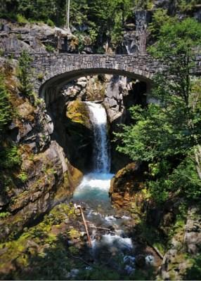 Christine Falls with Rustic Stone Bridge Mt Rainier National Park