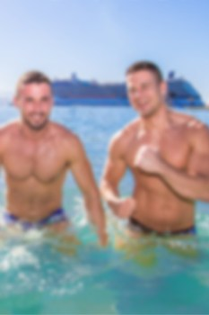 blurred gay cruise ad