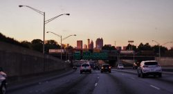 Atlanta skyline at sunset off I75 in Georgia