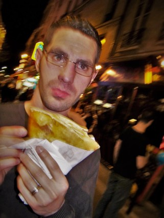 Chris Taylor with Crepe in Latin Quarter Paris 2traveldads.com