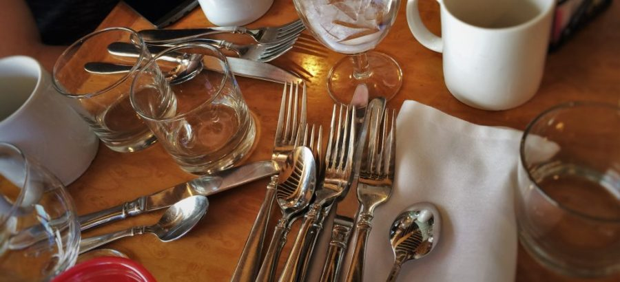 Excess Silverware in Garden Terrace at Inverness Hotel Denver Colorado 1