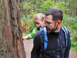Chris Taylor and TinyMan in Ladybird Johnson Grove Redwood National Park