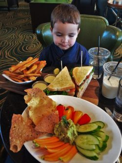 LittleMan and sandwich board with hummus at Fireside Lounge at Inverness Hotel Denver Colorado 1