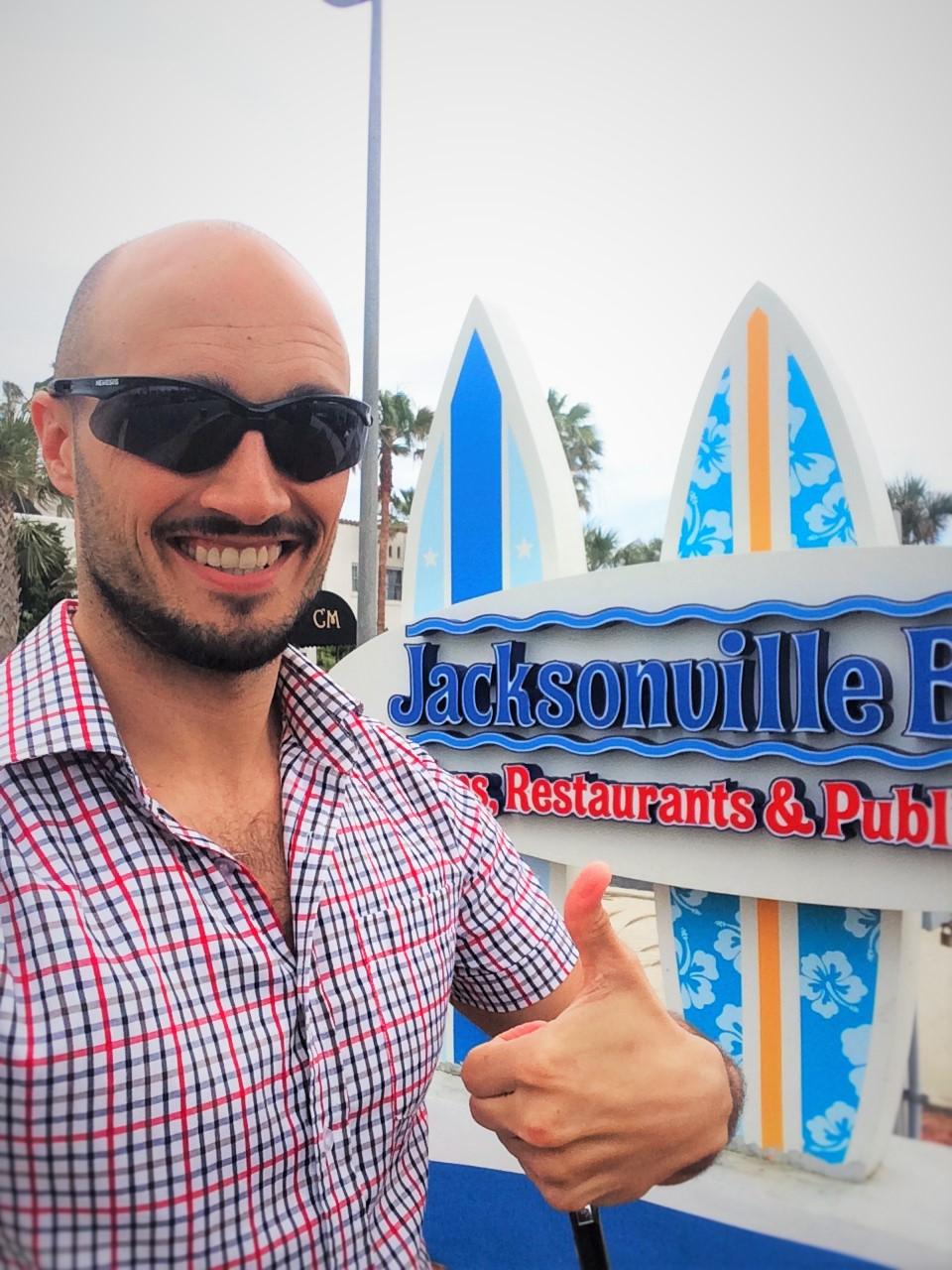 Rob Taylor and Surf Board Signs at Jacksonville Beach Florida 3