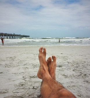Rob Taylor feet at Jacksonville Beach Florida 1