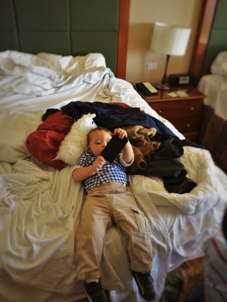 TinyMan while packing bags at Inverness Hotel Denver Colorado 1