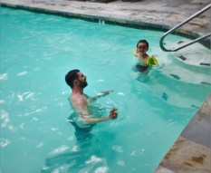 Chris Taylor and LittleMan in the pool at Tenaya Lodge Yosemite 1