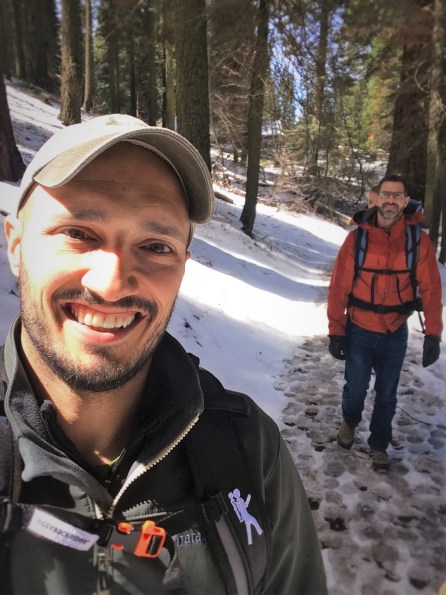 Chris and Rob Taylor hiking in Giant Forest in Sequoia National Park 1