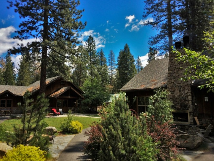 Lawn area by play room at Evergreen Lodge at Yosemite 2traveldads.com