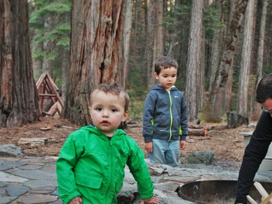Rob Taylor and Kids by fire pit at Evergreen Lodge at Yosemite 2traveldads.com