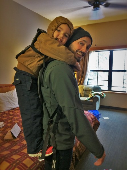Rob Taylor and LittleMan using Piggyback Rider at Wuksachi Lodge in Sequoia National Park 2