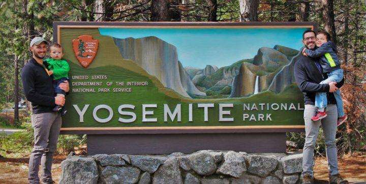 Taylor Family at Entrance Sign in Yosemite National Park 3