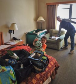Taylor Family packing up in room at Wuksachi Lodge in Sequoia National Park 1