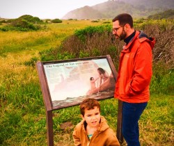 Chris Taylor and LittleMan at Visitors Center in Redwood National Park California 2traveldads.com