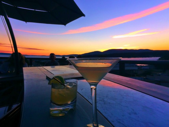 Cocktails at Sunset on Rooftop of Majestic Inn Anacortes