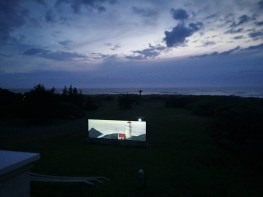 Outdoor bigscreen at Pacific Reef Hotel Gold Beach Oregon Coast 2