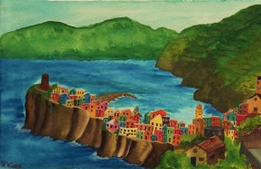 Watercolor of Vernazza by Rob Taylor