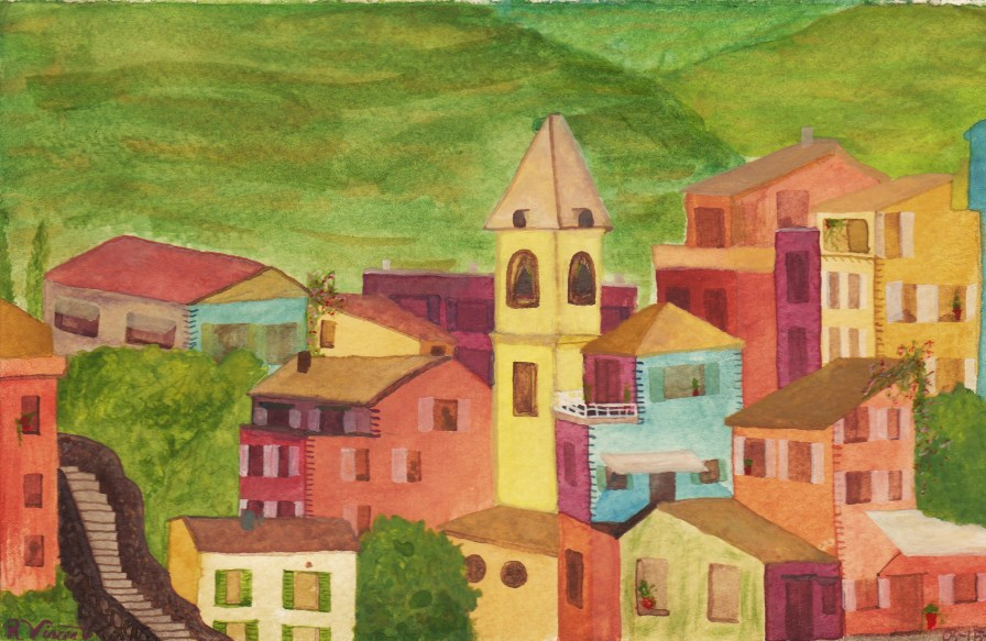 Watercolor of Corneglia Cinque Terre by Rob Taylor