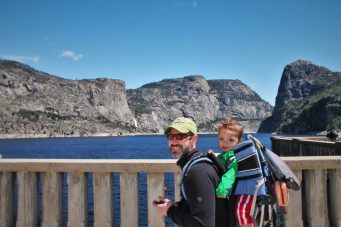 Chris Taylor and TinyMan on dam at Hetch Hetchy Yosemite National Park 1