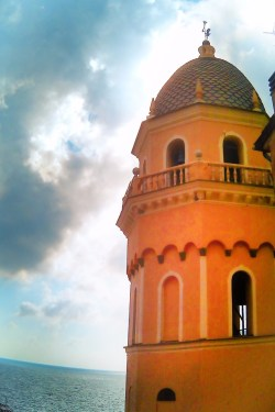 Church bell tower Vernazza Cinque Terre Italy 1e