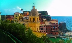 Church bell tower Vernazza Cinque Terre Italy 2e