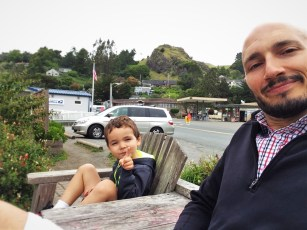 Rob Taylor and son in Jenner California Highway 1