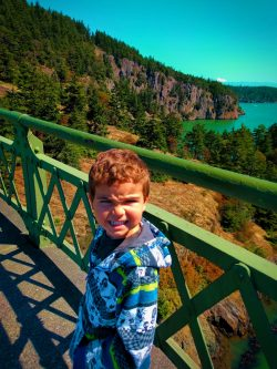 LittleMan on Bridge at Deception Pass State Park Whidbey Island 2