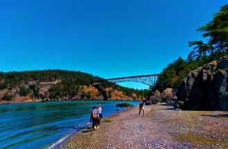 People on Beach at Deception Pass State Park Whidbey Island 1