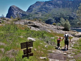 Rob Taylor and Little Man hiking at Hetch Hetchy