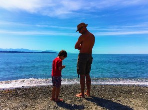 Rob Taylor and LittleMan at Beach Fort Casey Whidbey Island 1e