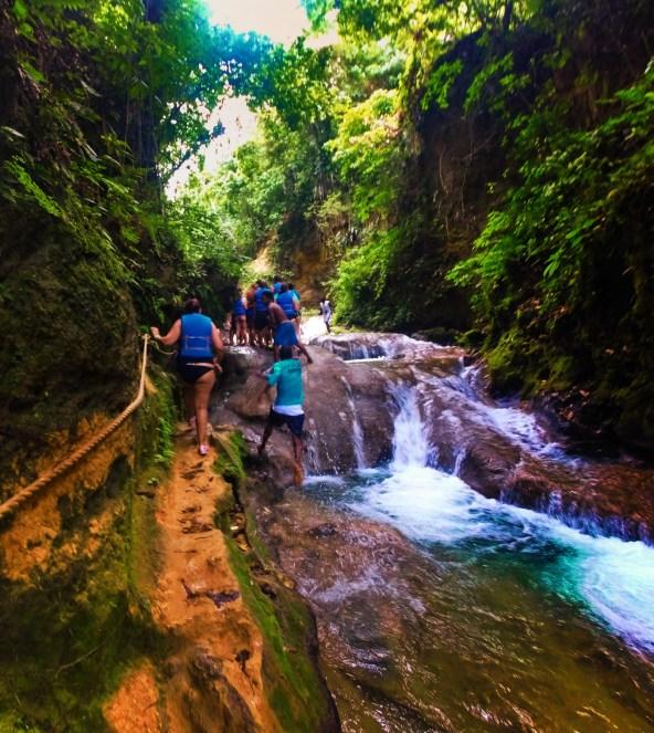 Climbers At the Blue Hole St Anns Ocho Rios Jamaica 2