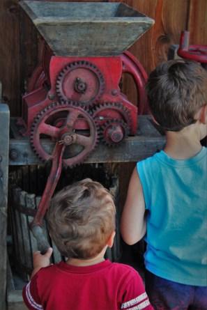 Taylor Kids Family Friendly Wine Tasting wine press at AniChe Cellars Underwood Columbia River Gorge 1