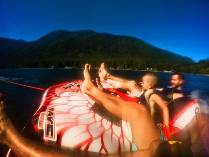 Taylor Family on Inner Tube at Lake Cushman
