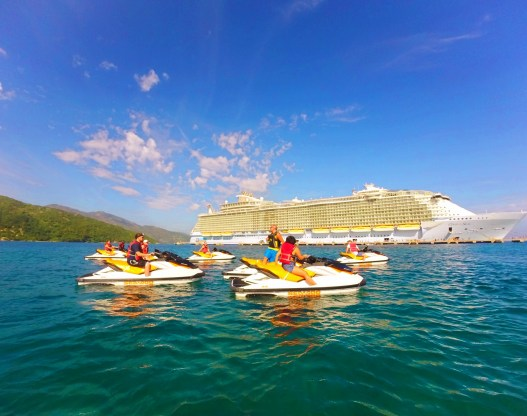 Jet skis on wave runner tour Labadee Haiti with Oasis of the Seas Royal Caribbean 1
