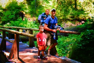 Rob Taylor and Kids hiking at Silver Falls Mt Rainier National Park 2