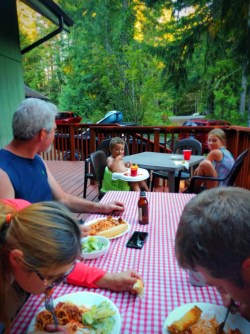 Taylor Family dinner at VRBO at Lake Cushman Olympic Peninsula 1