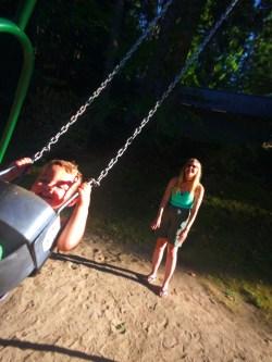 TinyMan and Grama at park at Lake Cushman Family Reunion 1