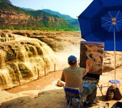 Painting at Hukou Falls Shaanxi 1
