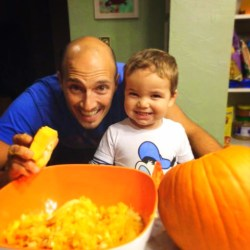 Rob Taylor and LIttle Man first time carving pumpkin Fall Traditions