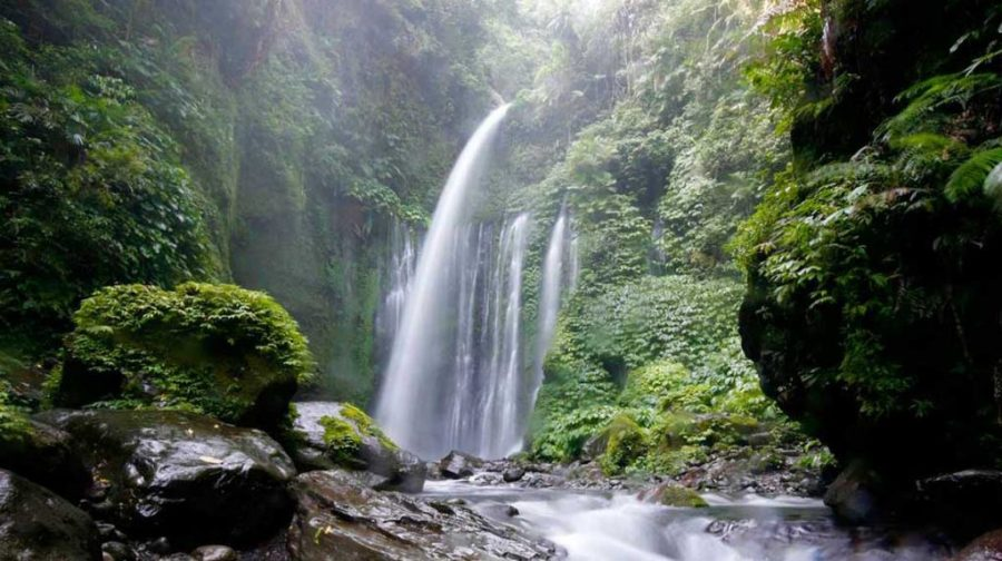 Waterfall in Rinjani National Park Lombok Indonesia