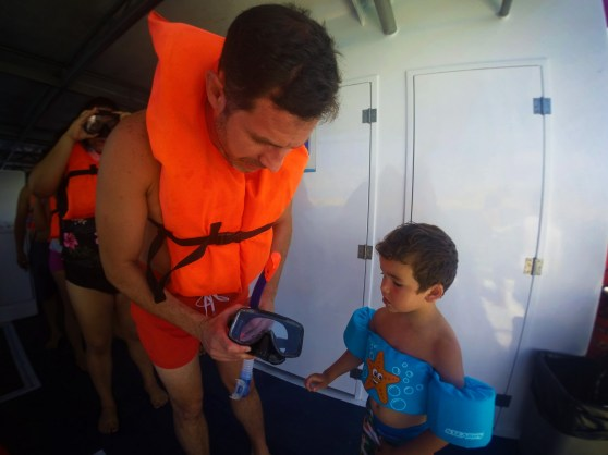 Getting ready for our first open water snorkeling together