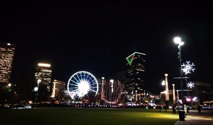 Centennial Park Atlanta with Skyview at night 1